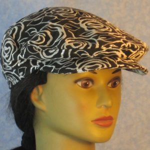 Flat Cap in Silver Lined Roses on Black Brocade-right