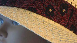 Floppy Band in Black Poppy Flower on Black Ties Burgundy-closeup