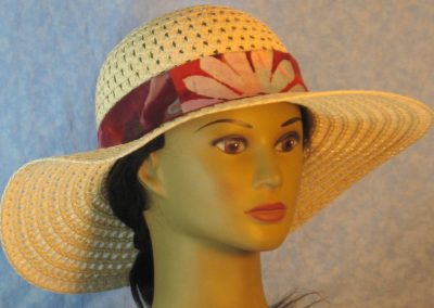 Floppy Hat Band in Flower Bands Pattern in Rose Rust Mauve Batik-natural front