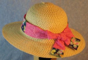 Floppy Band in Pink Flowers Patchwork Yellow Pink Blue Butterfly-tan back