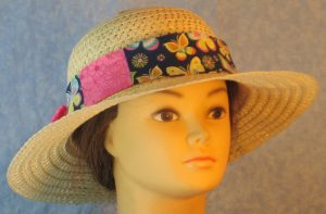 Floppy Band in Pink Flowers Patchwork Yellow Pink Blue Butterfly-tan front