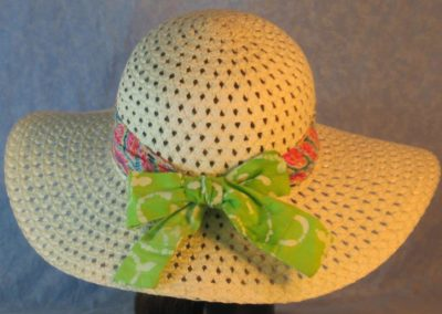 Floppy Band in Pink Turquoise Green Yellow Blue Dashed Leaves With Ties in Lime White Batik-back