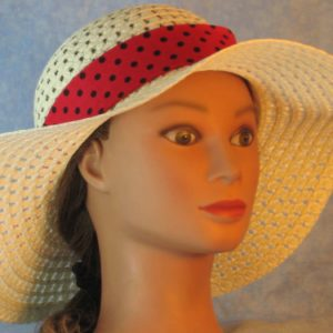 Floppy Band in Rose Red with Black Polka Dots-front