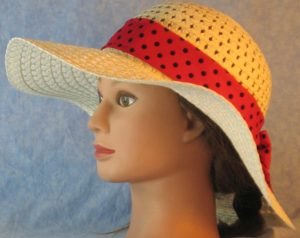 Floppy Band in Rose Red with Black Polka Dots-left
