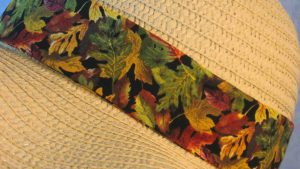 Floppy Band in Yellow Green Brown Fall Leaves on Black-natural closeup