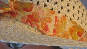 Floppy Band in Yellow Orange Pink Butterflies with Silver Glitter-closeup