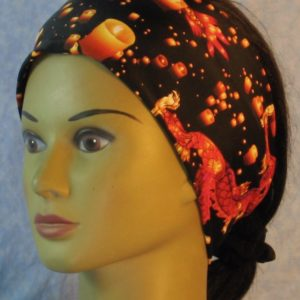 Headband in Black Orange Yellow Dragon Luminaries-left