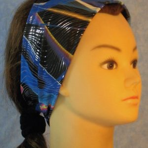 Headband in Blue Black Waves With Silver-right