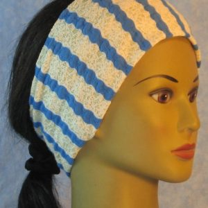 Headband in Gold with White Blue Wavy Stripes-right