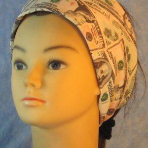 Headband in Green Cream Money on Black-left