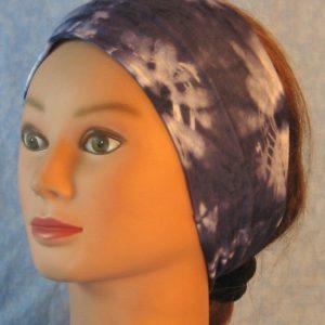 Headband in Navy Blue White Tie Dye Flower Design-left