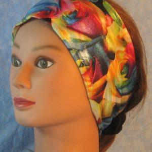 Headband in Pastel Rose Flowers on Black Hologram-left