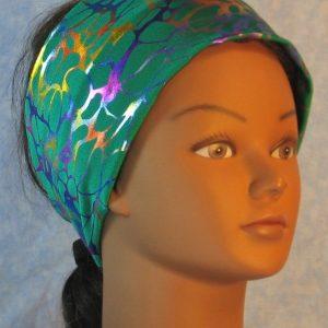 Headband in Purple Orange Blue Nerves on Green Hologram-right