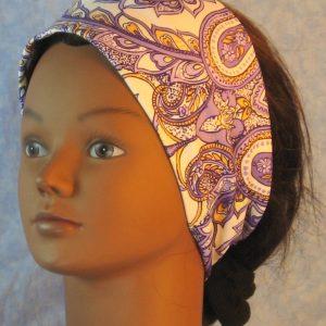 Headband in Purple Yellow Paisley on White-left