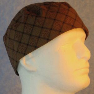 Skull Cap in Black Grid with Maroon on Brown-right