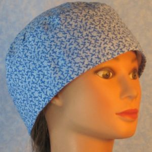 Skull Cap in Blue Stick Design on Light Blue-left
