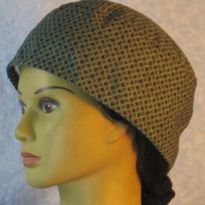 Skull Cap in Dark Green Black Square on Green-left