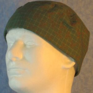 Skull Cap in White Grid with Mustard Leaf on Green-left