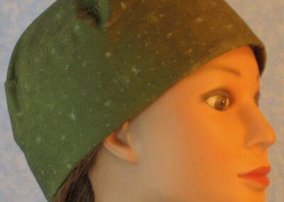 Skull Cap in White Spark Design on Olive Green-right