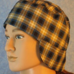 Welding Cap in Blue Mustard Black White Plaid-left