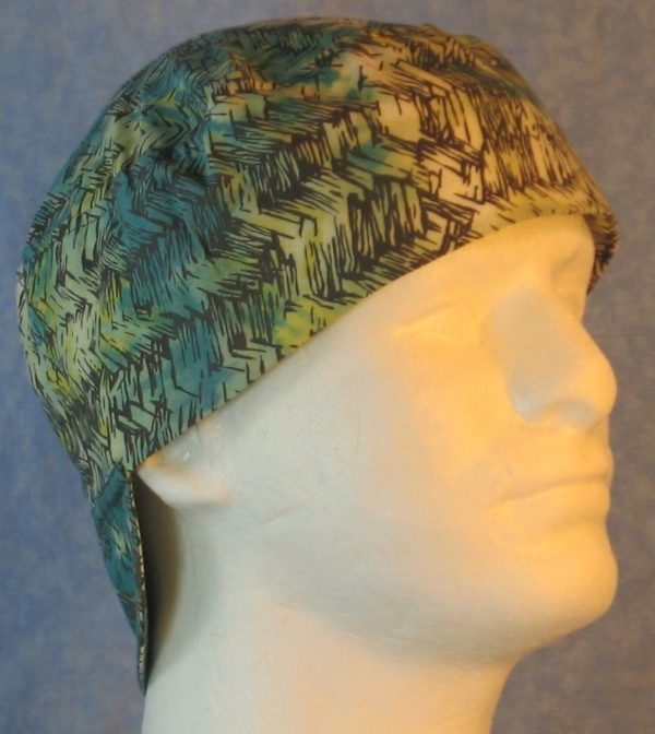 Welding Cap in Green Turquoise Yellow White with Gray Roping-right