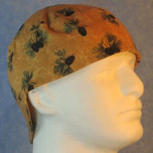 Welding Cap in Pine Branches Cones on Motley Brown-right