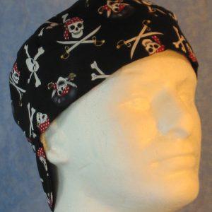 Welding Cap in Pirate Skull Crossbones on Black-right