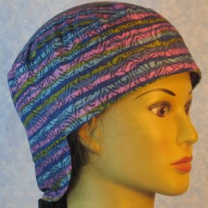 Welding Cap in Purple Blue Turquoise Green Stripe with Navy Squiggles-right
