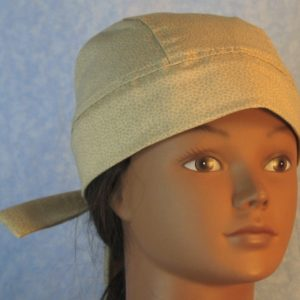 Do Rag in Blue Clustered Stripe Shapes on Tan-front
