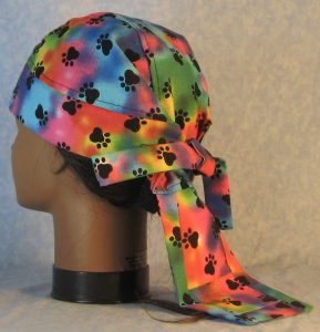 Do Rag in Blue Pink Green Yellow Purple Dyed with Black Paws-back