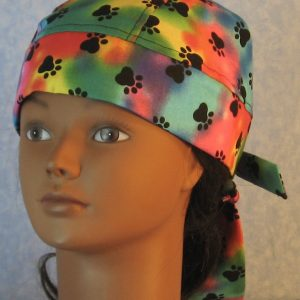 Do Rag in Blue Pink Green Yellow Purple Dyed with Black Paws-front