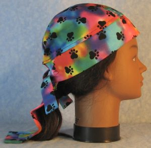 Do Rag in Blue Pink Green Yellow Purple Dyed with Black Paws-right