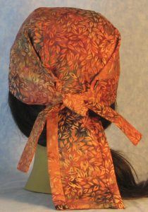 Do Rag in Orange Leaves on Orange Gray Batik-back