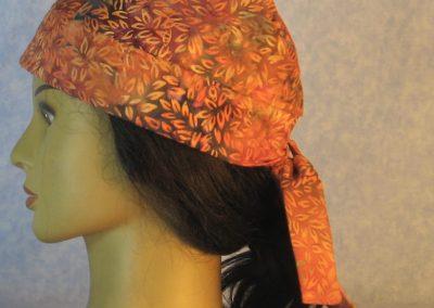 Do Rag in Orange Leaves on Orange Gray Batik-left