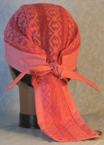 Do Rag in Pink Geometric Stripe Lace Crown with Pink Band and Ties-back