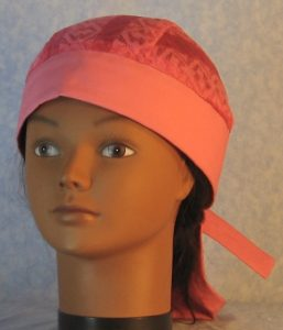 Do Rag in Pink Geometric Stripe Lace Crown with Pink Band and Ties-front