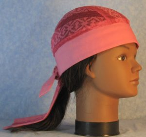 Do Rag in Pink Geometric Stripe Lace Crown with Pink Band and Ties-right