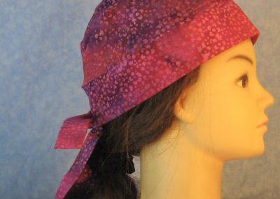 Do Rag in Pink Purple Small Flower Batik-right