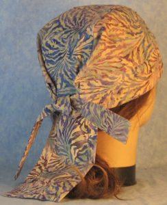 Do Rag in Purple Blue Tan Scroll Batik-back