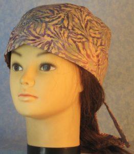 Do Rag in Purple Blue Tan Scroll Batik-front