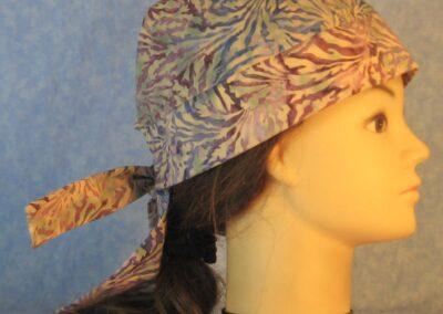 Do Rag in Purple Blue Tan Scroll Batik-right