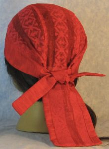 Do Rag in Red Geometric Stripe Lace Crown with Red Band and Ties-back