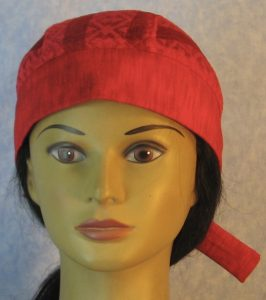 Do Rag in Red Geometric Stripe Lace Crown with Red Band and Ties-front
