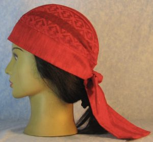 Do Rag in Red Geometric Stripe Lace Crown with Red Band and Ties-left