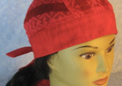 Do Rag in Red Geometric Stripe Lace Crown with Red Band and Ties-top
