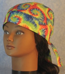 Do Rag in Red Green Blue Yellow Curl Spiral Tie Dye Like Print-front