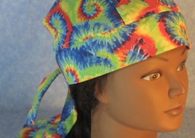 Do Rag in Red Green Blue Yellow Curl Spiral Tie Dye Like Print-top