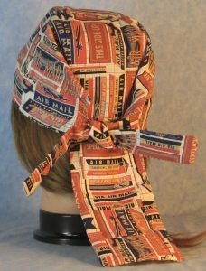 Do Rag in Rust Red Navy Tan Air Mail on Cream-back