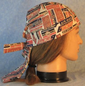 Do Rag in Rust Red Navy Tan Air Mail on Cream-right