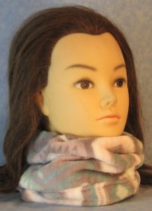 Neck Warmer in Blue Purple Pink White Hexagon Super Soft Fleece-front
